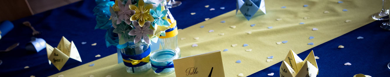 décoration de mariage bleu et jaune